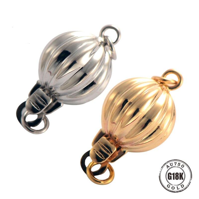 Véritable collier de perles de bracelets à faire soi-même en or 18 K faisant des résultats fournitures forme de lanterne fermoirs et crochets connecteur fermoirs accessoires