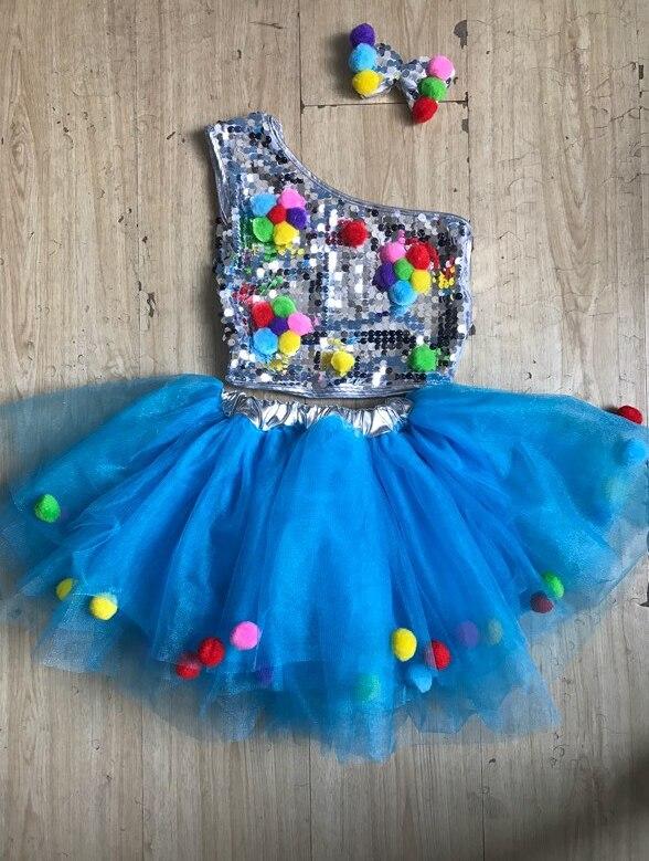 Детский танцевальный сценический костюм для девочек, современные Детские джазовые танцевальные костюмы, одежда с блестками для сальсы, современное танцевальное платье для девочек - Цвет: see chart