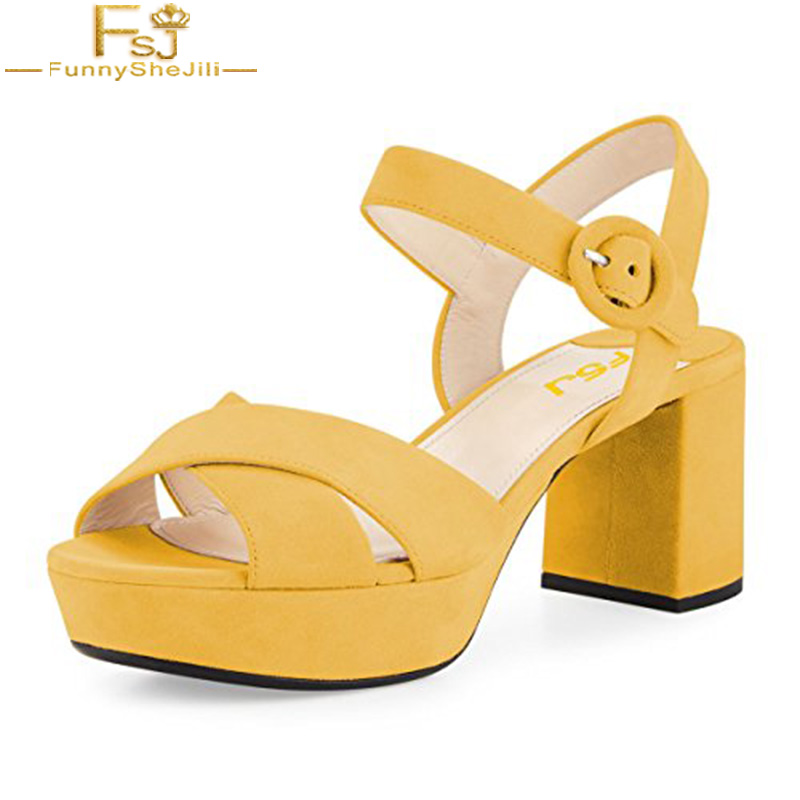 Women Summer Shoes Ankle Strap High Thick Heels Sandals Open Toe Platform New Design Elegant Large Size 4-16 Comfort Shoes FSJ covibesco nude high heels sandals women ankle strap summer dress shoes woman open toe sandals sexy prom wedding shoes large size