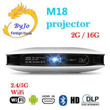 ByJoTeCH M18 projector 3D 1080P 2G 16G Android WIFI 4K Home Theater Cinema Proyector Beamer AirPlay Miracast Built-in battery стоимость