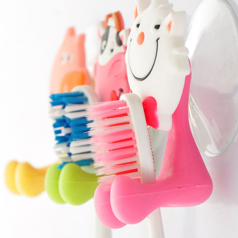 Cute 1pc Animal Cartoon Suction Cup Family Toothbrush Holder Bathroom Accessories Set 5  ...