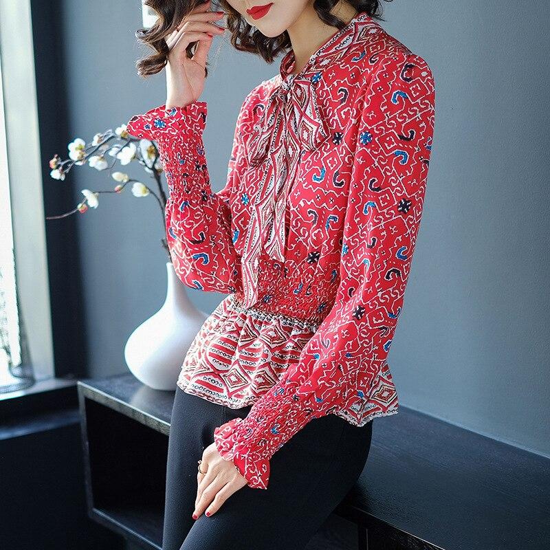 Mince Femmes Rouge Luxe Soie Printemps Stand Nouvelles Impression Réel Col Up Imprimé Mode De B18 2018 Chemise Dentelle xIX8Ew8qv