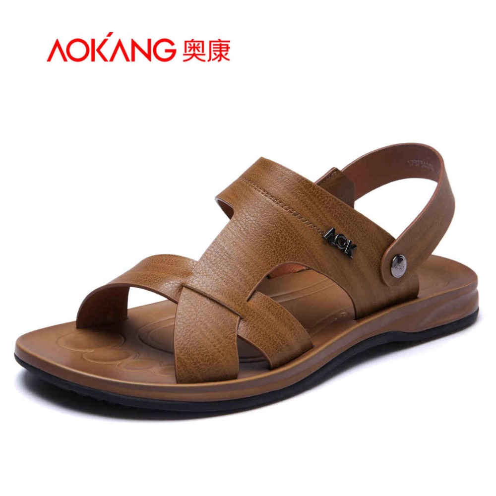 Aokang 2017 New Summer Shoes Fashion Summer Sandals men Genuine Leather Male Sandals Men Shoes Casual Shoes Free shipping 2016 summer men sandal sale medium b m back strap shoes melissa genuine leather sandals new men s beach shoes free shipping