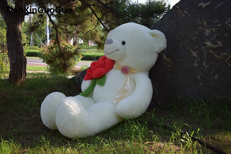 stuffed fillings toy huge 120cm hug red rose flower white teddy bear plush toy soft doll hugging pillow birthday gift s0619