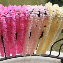 Artificial Flower Orchid Flower String Silk Flower Wedding Rattan Plant Wall Hanging Flowers Home Decoration Wholesale