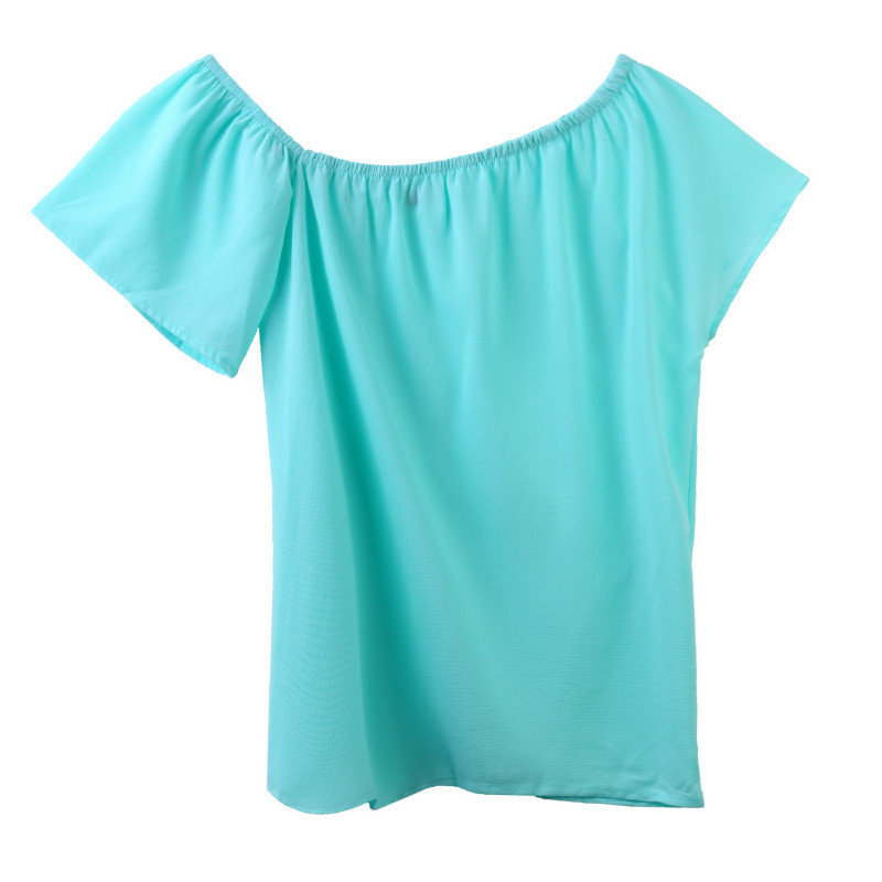 81273911a37 Women Summer Chiffon Short Sleeve Off Shoulder Shirts Blouse Casual Loose  Ladies Tops Party Club Shirt Outfits Sunsuit Clothes