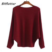 BHflutter Winter 2018 Batwing Sweaters Pullovers Women Fashion Casual Cashmere Sweater Coat Female Knit Jumpers Tops Pull Femme