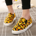 Free shipping fashion korean style women casual Loafers round toe slip on flat shoes size 35-40 black Leopard gray shoes