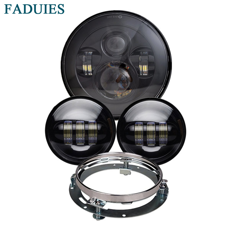 7 Motorcycle Black Projector LED Light Bulb Headlight For Harley Motos with 7 Headlight Bracket + 4.5 Passing led Fog Lamp