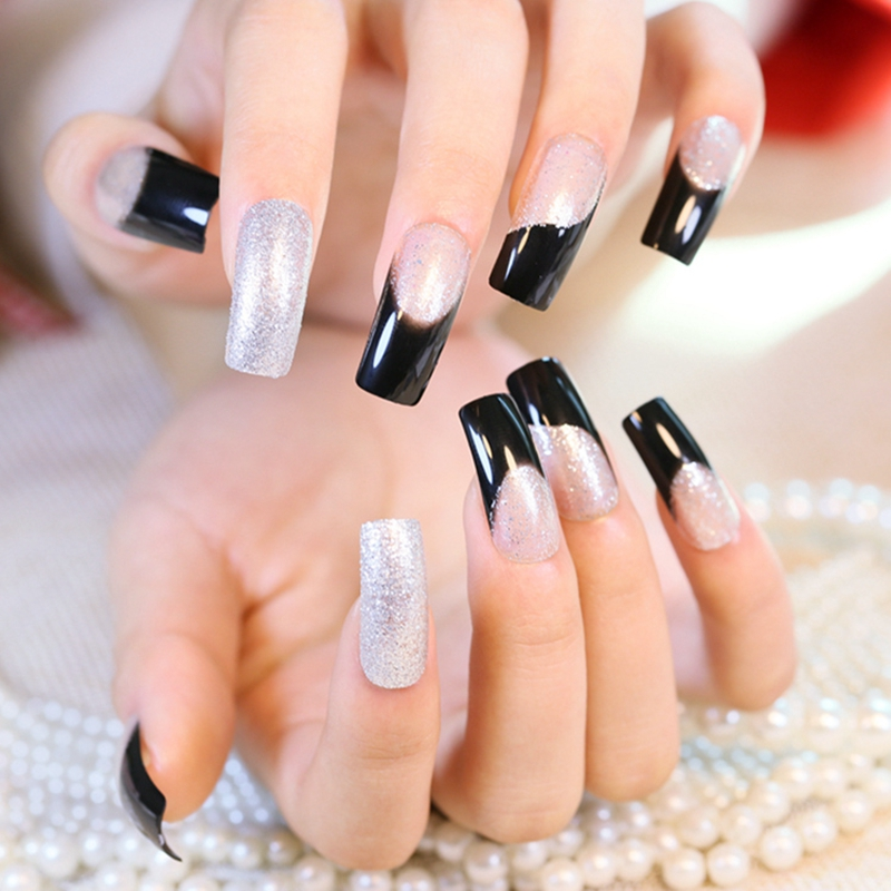 Glitter Long Fake Nails Silver Black Flat Top French Tips Elegant
