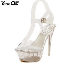 цены Newest  Sandals Women Platform T Stage Show Sexy High-heeled Shoes 14 cm High Transparent Crystal Waterproof Plus Size 35-43