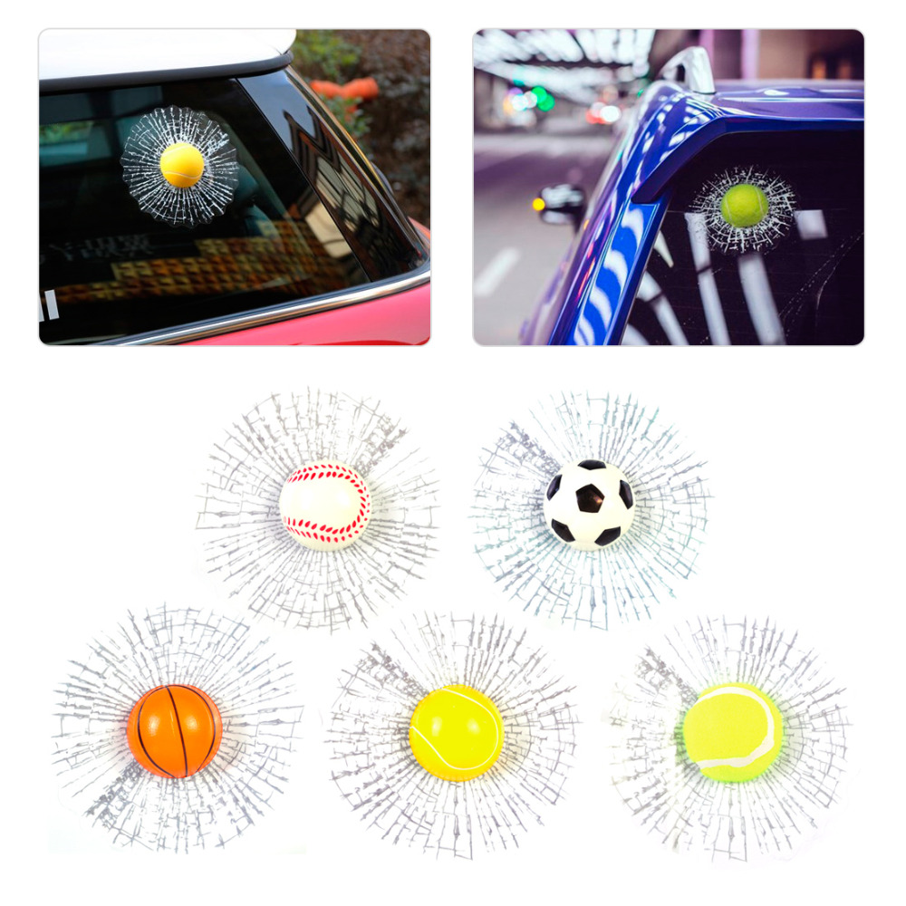 Car glass sticker design - 1pc New Creative Funny 3d Hit Window Car Sticker Auto Windshield Glass Surface Decoration For Vw