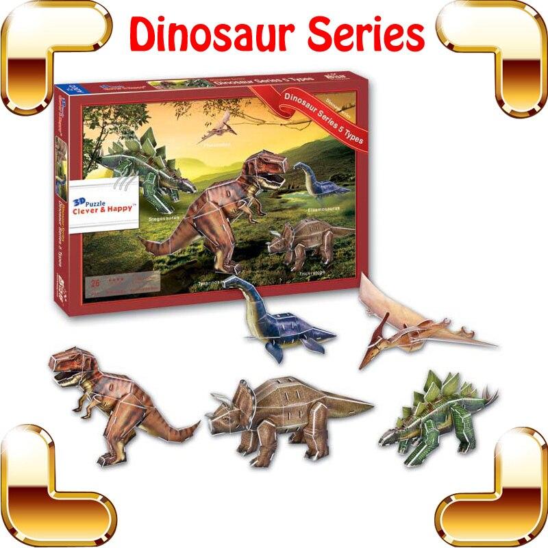 Nouveau bricolage cadeau dinosaure série modèle 3D manuel d'apprentissage Puzzle bricolage éducation jouets pour enfants papier Puzzle IQ jeu Puzzle