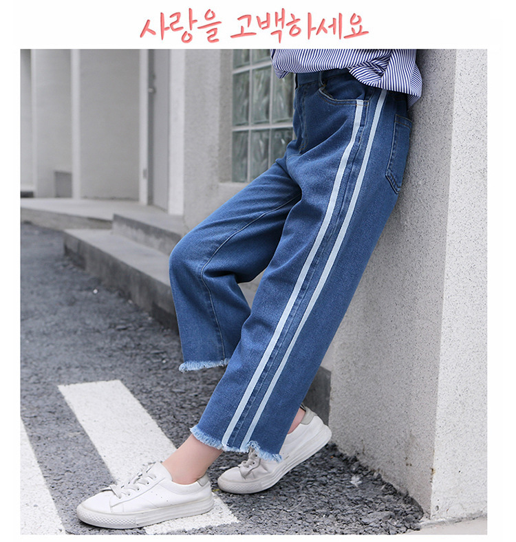 Girls 4-12 Years Spring Autumn Jeans Denim Loose Pants Casual Fashion Raw Edges Side Double Stripes Elastic Waist Jeans Trousers 12