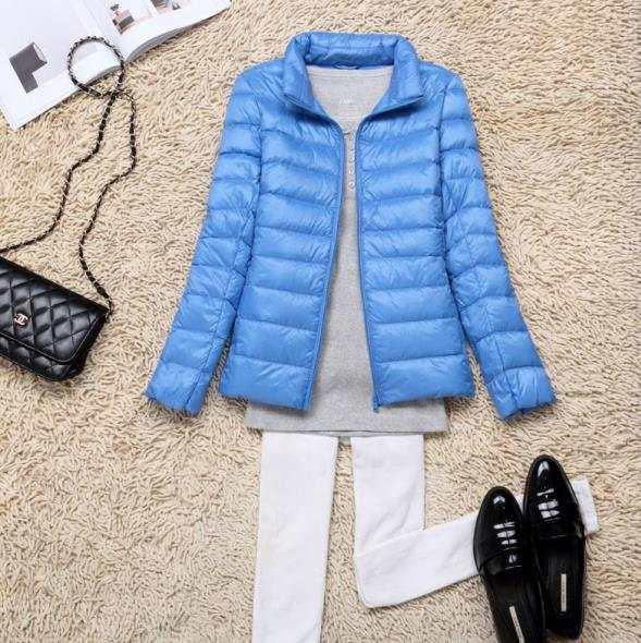 US $23.99 49% OFF Nowa jesienno zimowa damska ultralekka kurtka puchowa biała kaczuszka lekka Parkas damska ciepła, slim cienkie krótkie płaszcze