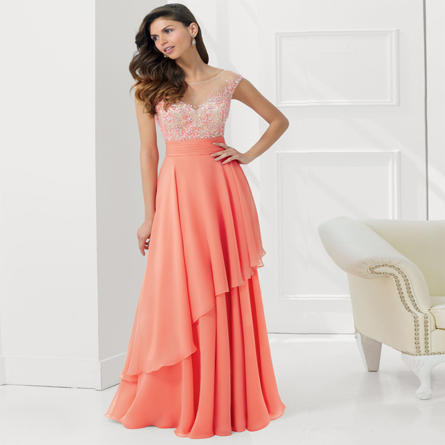 New Arrival Evening Dress Long 2016 Custom Made Formal Dresses Coral