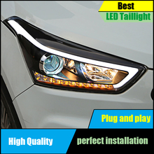 Car Styling Head Lamp For Hyundai Creta IX25 2015 2016 2017 Headlights LED Dynamic Turn Signal Light LED DRL Bi-Xenon Low Beam цена в Москве и Питере