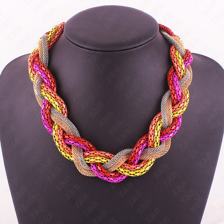 Hot Sale New Fashion Bohemian style Punk Fashion Simple multicolor Metal braid Twist Chain necklaces & pendants womans Necklace
