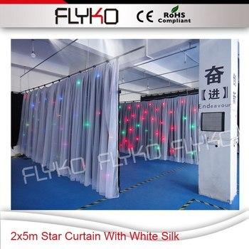 Cortina de estrella de 2x5 m con seda blanca, cortina led de luces brillantes con controlador SD