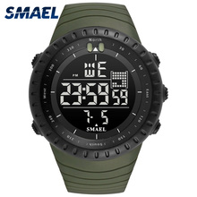 2017 Men Watches Big Dial Digital Watch Man Water Resisitant 5bar Led Watches Digital Date 1237 Sport Wrist Watches Stopwatch cheap SMAEL Plastic 21cm Buckle ROUND 24mm 16mm Hardlex Complete Calendar Shock Resistant Stop Watch LED display Auto Date Week Display