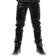 新fashon黒マジックスリムカジュアルmanleズボンパンクdj歌手ステージ摩耗ショーパフォーマンス衣装男性pailletteのレザーパンツ