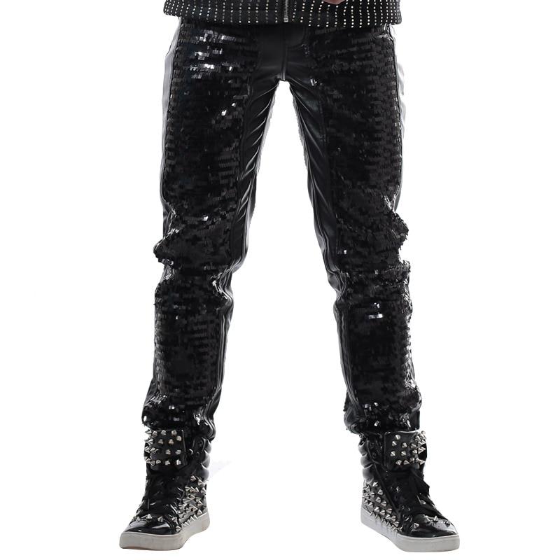 새로운 fashon 블랙 마술 슬림 캐주얼 마네의 바지 펑크 DJ 가수 무대 공연 성능 의상 남성 paillette 가죽 바지