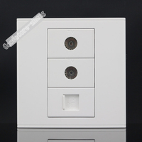 Wall Socket Plate 3 Ports ONE Network RJ45 Cat5e Dual TV Jack Panel Faceplate Outlet Adapter
