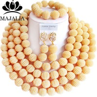 Fashion african jewelry Gold Champagne Plastic nigerian wedding african beads jewelry set Free shipping Majalia 476