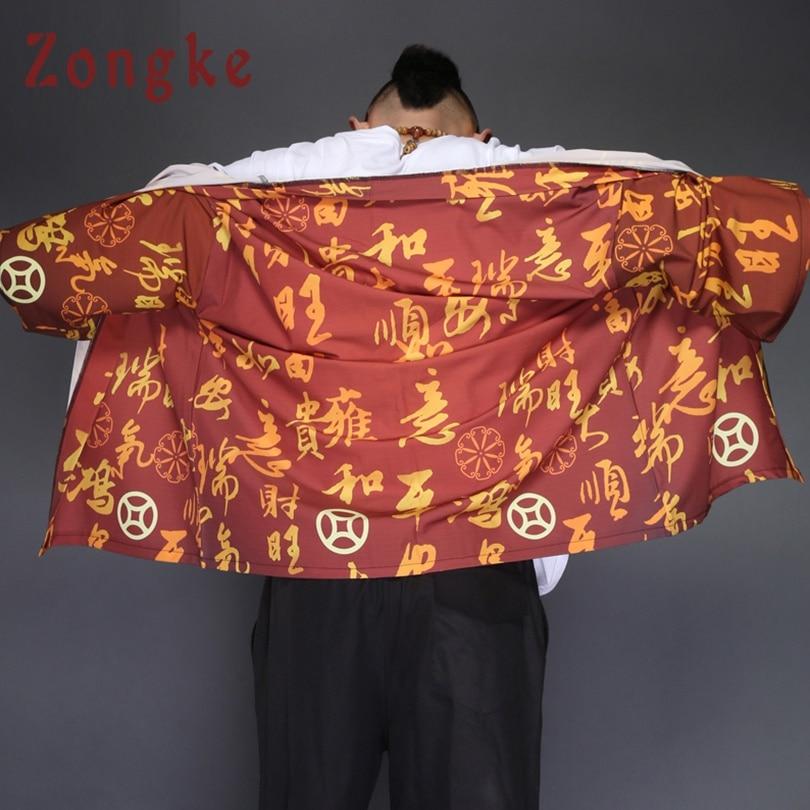 Zongke Chinese Kimono Cardigan Men Red Long Kimono Cardigan Men Chinese Character Print Men Kimono Robe Thin Jacket Coat 2018