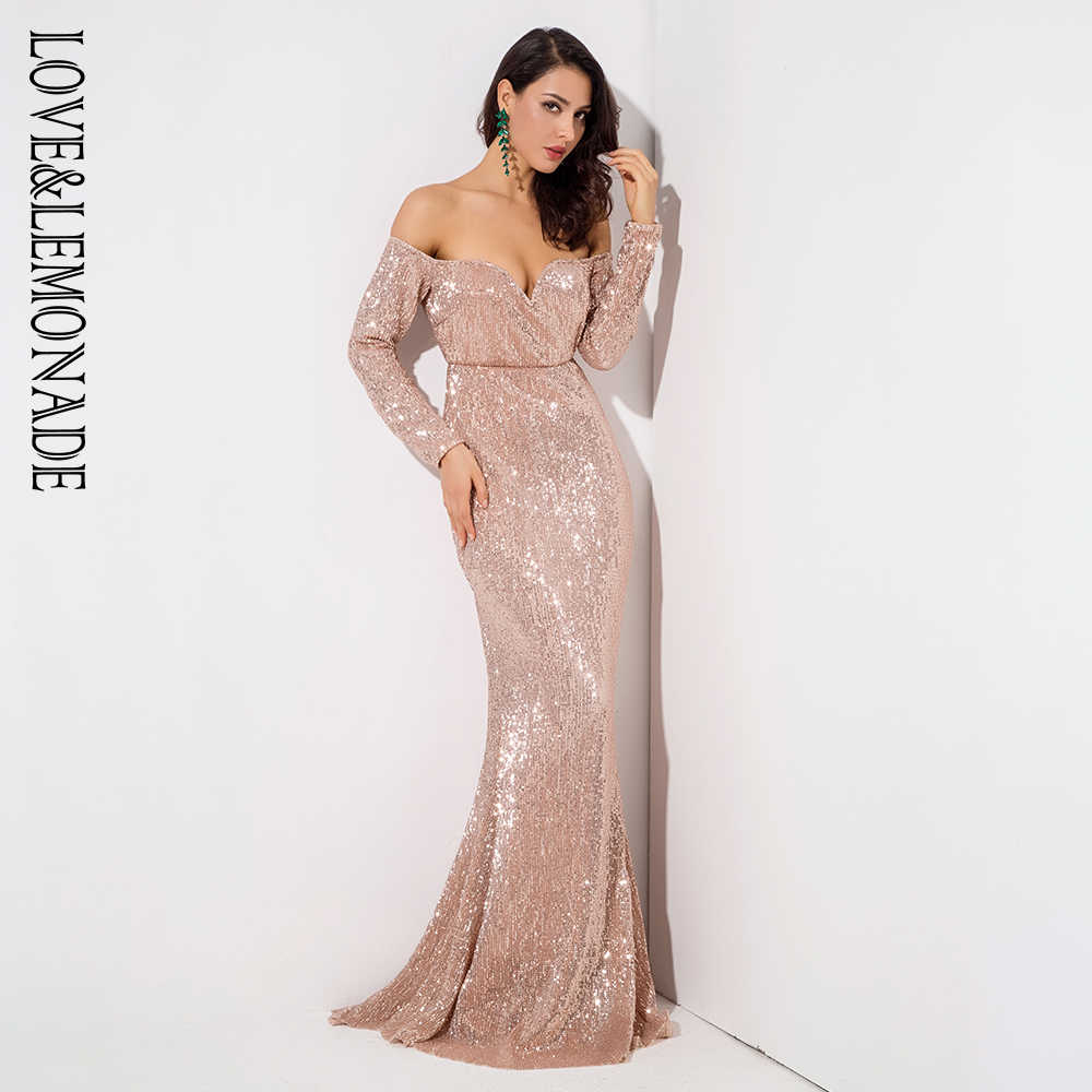 Gold Deep V Collar Long Sleeve Elastic Sequin Material Long Dress LM1070 ... a8321ed4cdf0