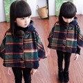 Ребенок плащ с капюшоном шерстяная ткань пальто пальто девочка костюм 3 ~ 7 лет для девочек высокое качество детская одежда