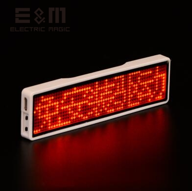 4 Letters Bluetooth LED Screen Neon Sign Micro USB Displayfor Badge Business Card Worker Plate Badge Scroll Font 11*44