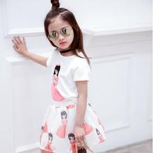 цена на Girls Clothing Sets Summer Children Clothing Wear Chiffon Printed T-shirt + Striped Skirt Sets Kids Clothes For Girls