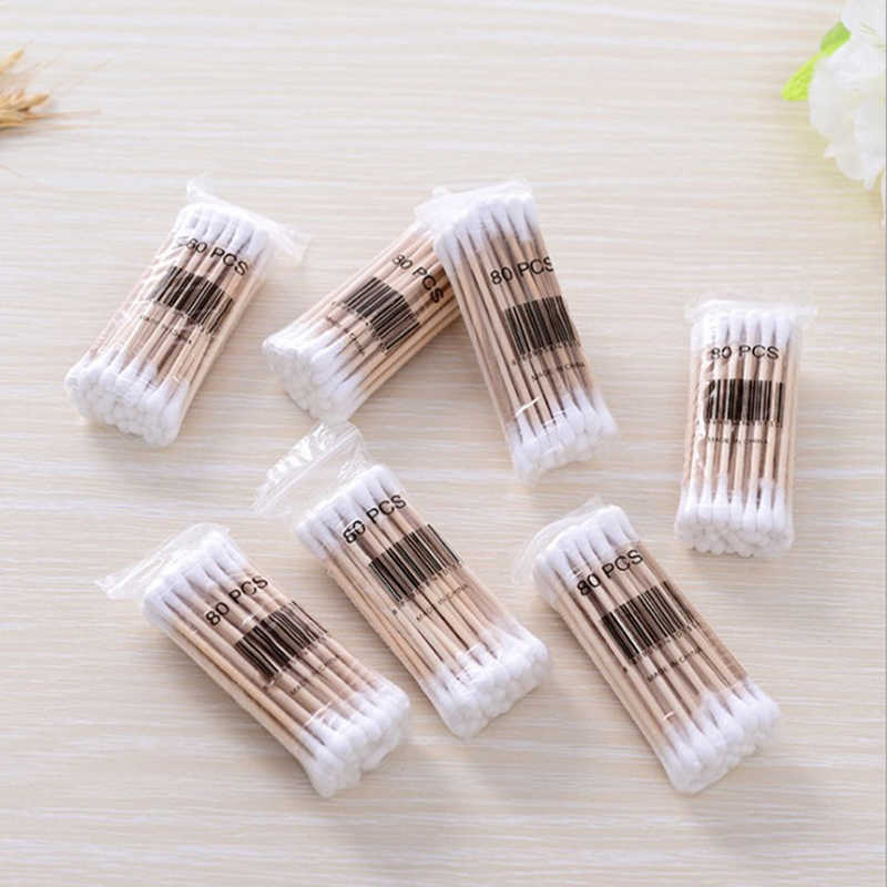 35 Pcs Bamboo Double Head Cotton Swab Makeup Cotton Buds Tip Health Care Tools For Medical Wood Sticks Women Nose Ears Cleaning