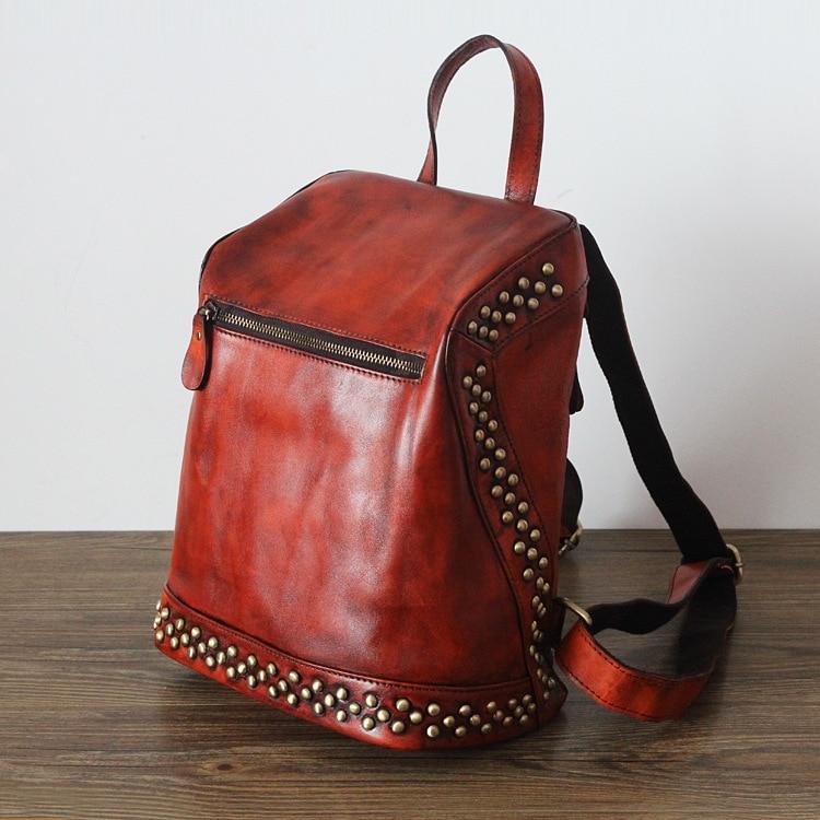 Genuine leather backpack women rivets vintage small backpacks for teenage girls mochilas mujer 2016 back pack sac a dos femme