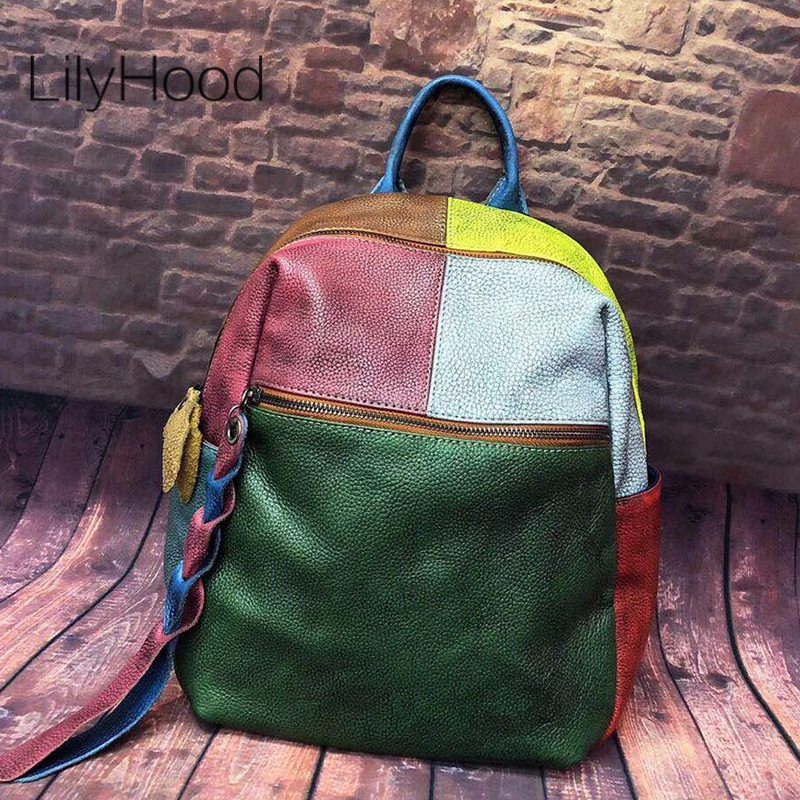 Multicolor Patchwork Cowhide Backpack Women High Quality First Layer Leather Knapsack Female Teen Fashion Vintage School
