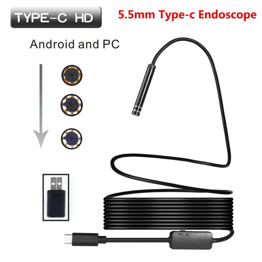 Type-c Android USB Endoscope Camera 5.5mm Hard Cable PC Android Phone Endoscope Pipe Type C Endoscope Inspection Mini CameraType-c Android USB Endoscope Camera 5.5mm Hard Cable PC Android Phone Endoscope Pipe Type C Endoscope Inspection Mini Camera