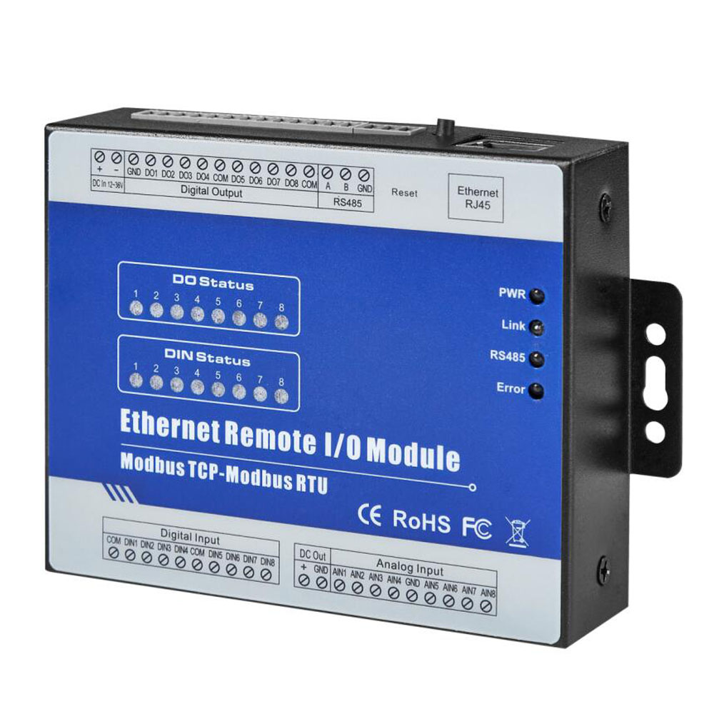 IOT RTU Module Modbus TCP Ethernet Remote IO Module 8DI+8 Relay Embedded Web Server For Configuration M140T
