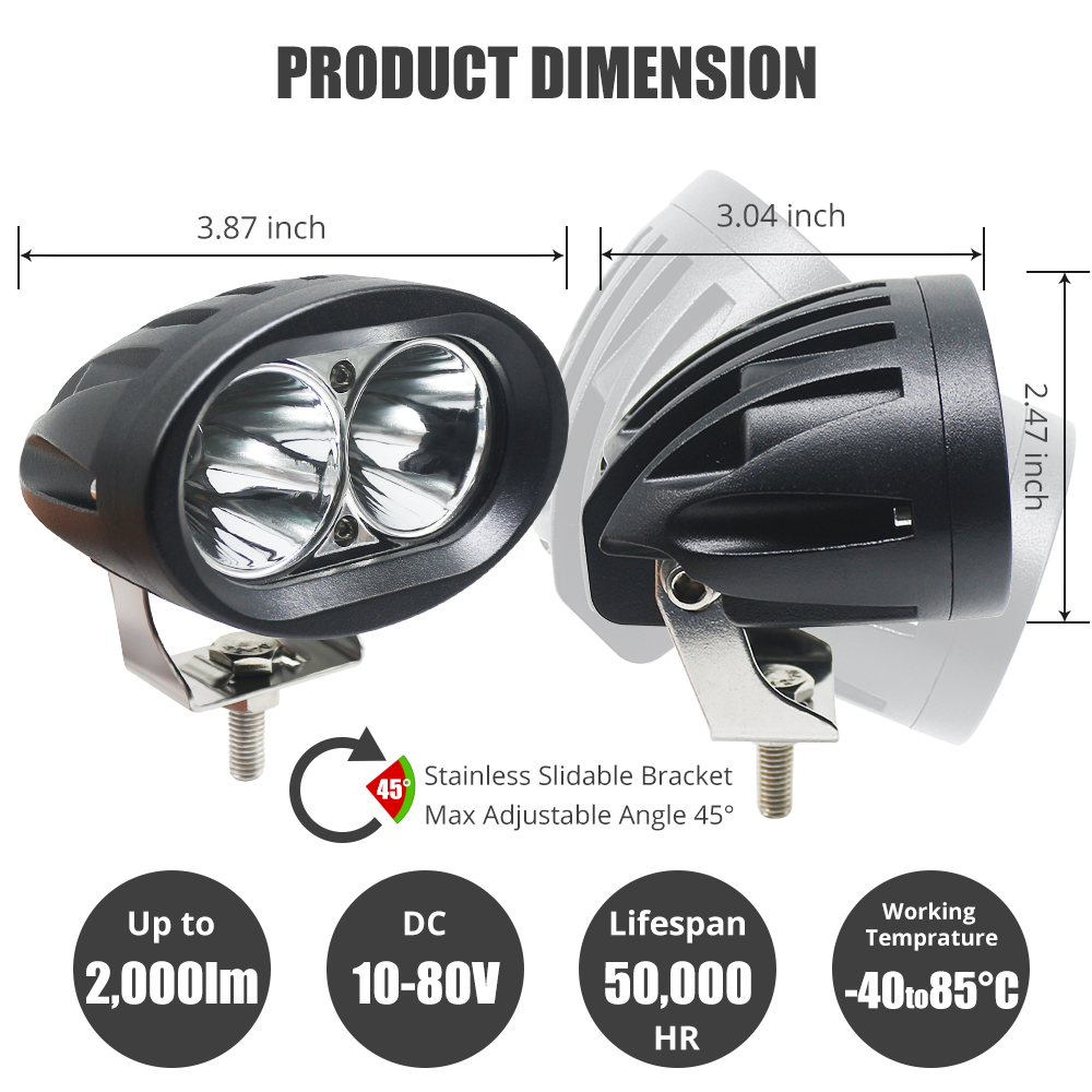 Work Light Fog Lamp 20W OVAL LED Lights For Auto Car Motorcycle Truck Trailer 4WD 4X4 ATV SUV Headlight Spot Flood Driving Light in Light Bar Work Light from Automobiles Motorcycles