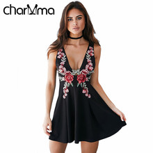 charMma Summer Beach Vintage Floral Embroidery Dress Women Sleeveless V Neck A Line Mini Dresses Little Black Tunic Club Vestido