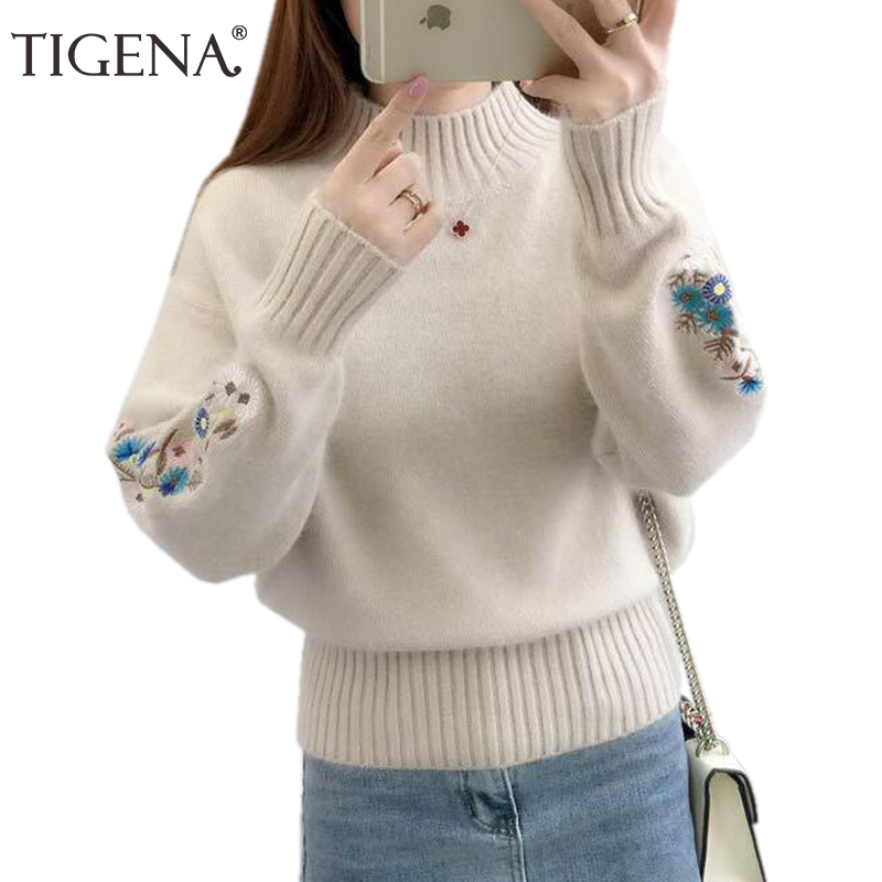 TIGENA 2019 Winter Thick Warm Beautiful Embroidery Turtleneck Sweater Women Long Sleeve Knit Pullover Sweater Female Pull Femme