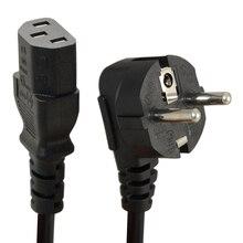 1.5m 5ft c13 iec chaleira para europeu 2 pinos redondo ac ue plug cabo de alimentação cabo de ligação pc
