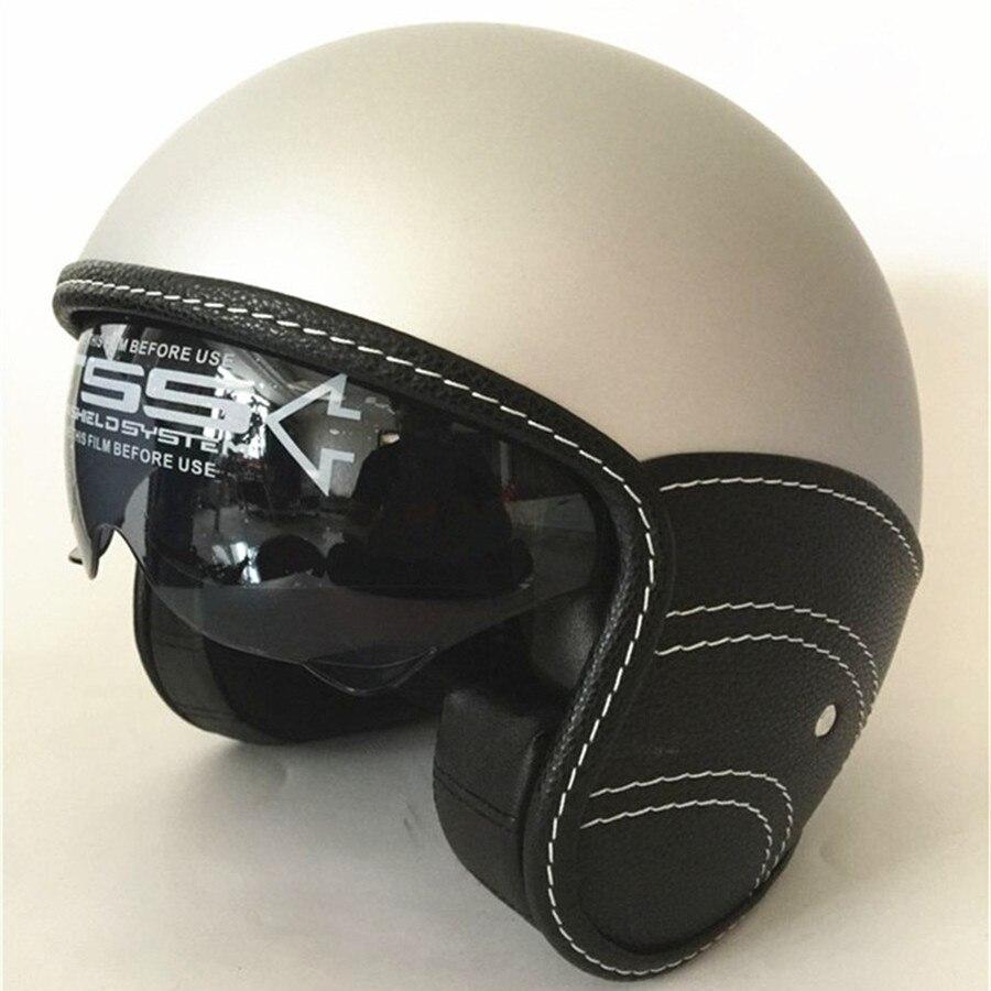 New Motorcycle Half Helmet Cruiser 3 4 Open Face Scooter Vintage DOT Visors inner dark lens