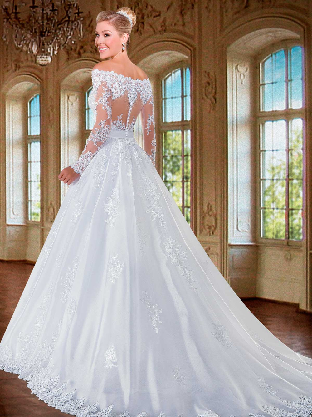 Aliexpress.com : Buy Vnaix W3016 Long Sleeves Ball Gown Lace ...