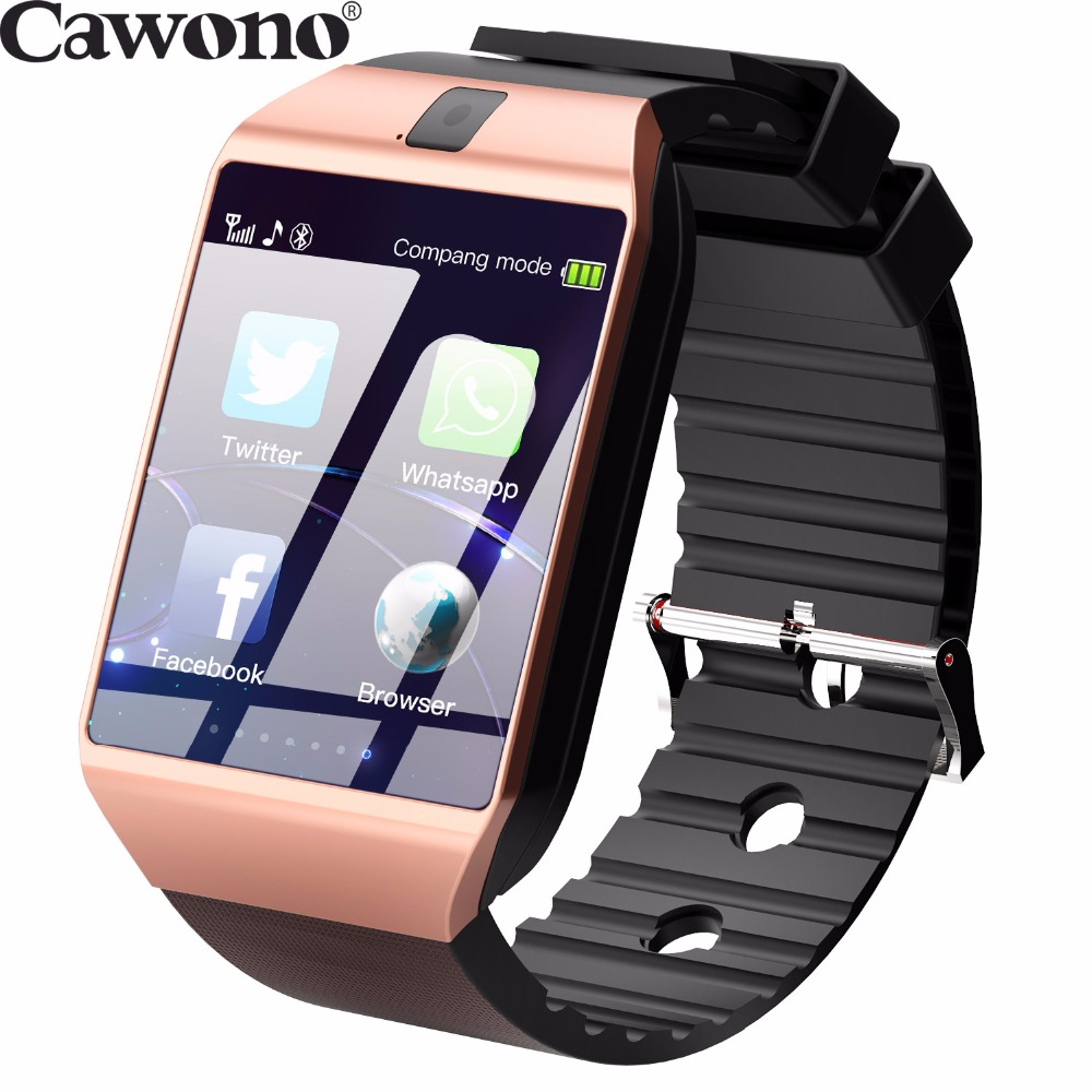 Cawono Gold DZ09 Bluetooth Smart Watch with Camera Phone Call GSM SIM Smartwatch for iPhone Xiaomi Samsung HUAWEI Smartphones