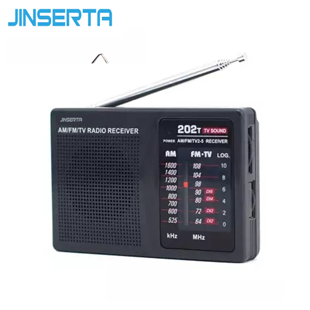 JINSERTA Original TECSUN R-202T FM/MW/TV Sound Portable Mini FM Radio Recorder Receiver High Sensitivity Mini Music Player