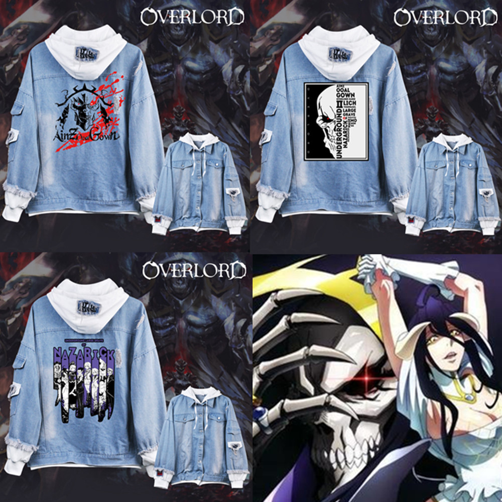 Overlord Cosplay costumes Overlord Hoodies Jackets Men women cartoon casual Jean jacket Ripped denim top in fashionable print