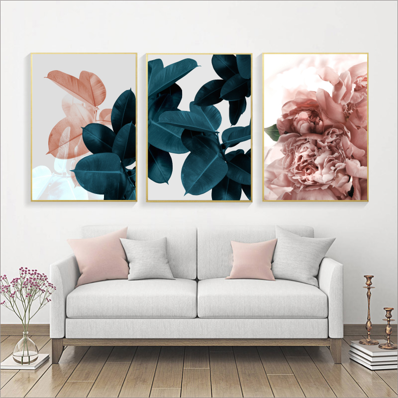 Canvas Painting Art-Decoration Poster-Print Can-Be-Customized Pink-Flowers Wall Green-Plants