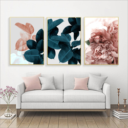 Modern Abstract Pink Flowers Green Plants Poster Print Canvas Painting Pictures Home Wall Art Decoration Can Be Customized