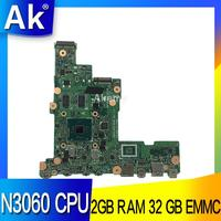 AK E205SA Laptop motherboard N3060 CPU 2GB RAM 32 GB for ASUS E205S E205SA Test mainboard E205SA motherboard test 100% ok
